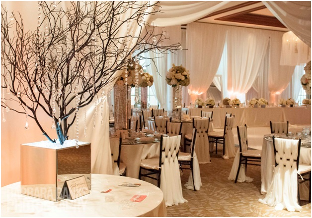 Beautiful linens and chair sashes for a Florida wedding