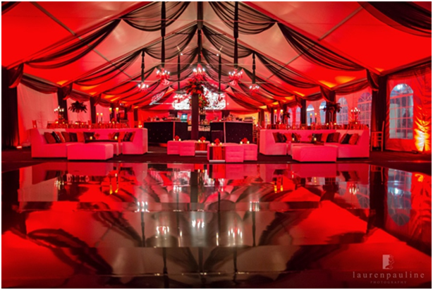 US Tent tent with red lighting