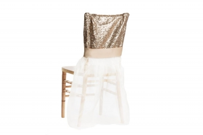 Champagne Glimmer & Organza Chair Ensemble